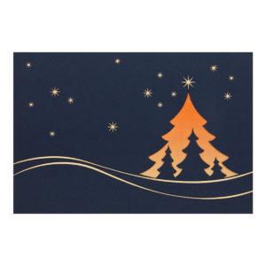 Weihnachtskarte, dunkelblauer Karton, Folienprägung gold