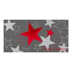 Weihnachtskarte, irisierender, grauer Karton, mit Folienprägung rot und silber
