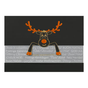 Weihnachtskarte, schwarzer Karton, Folienprägung gold und kupfer, transparente Banderole