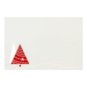 Weihnachtskarte, Geschäftstextkarte, irisierender, cremefarbener Karton, Folienprägung silber und rot