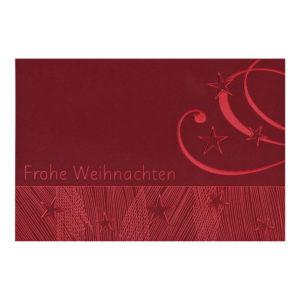 Weihnachtskarten, dunkelroter Karton, Folienprägung rot