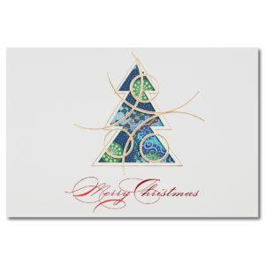 Weihnachtskarte, cremfarbener Karton, Folienprägung gold und rot, Spendenkarte Care