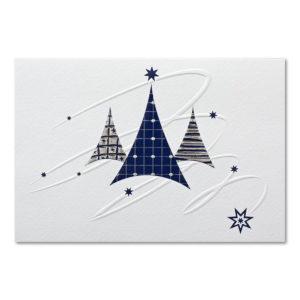 Weihnachtskarte, cremefarbener Karton, Folienprägung silber und blau matt, Blindprägung