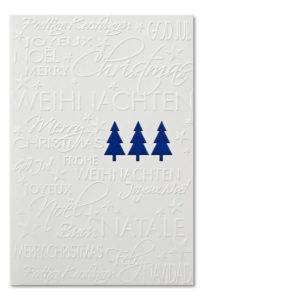 Weihnachtskarte, cremefarbener Karton, Folienprägung blau, Blindprägung