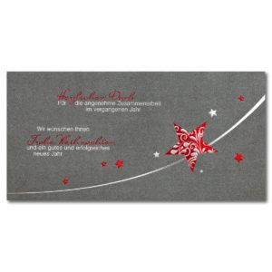 Weihnachtskarte, Geschäftstextkarte, irisierender, hellgrauer Karton, Folienprägung silber matt und rot