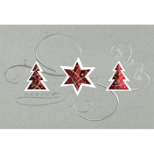 Weihnachtskarte, Laserkarte, grauer Designkarton , Folienprägung silber
