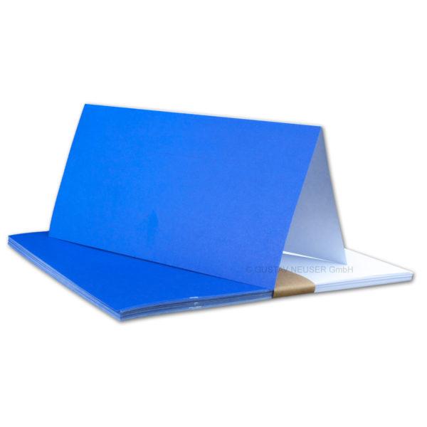 Einlegeblatt weiß, 1. Seite blau bedruckt, Grammatur: 90/m², DL