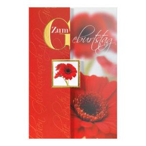 Glückwunschkarte, rote Gerbera und goldene Folienprägung