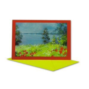 Glückwunschkarte, Aquarell See und Blumenwiese