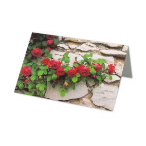 Glückwunschkarte, rote Rosenranke auf Steinmauer