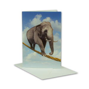 Glückwunschkarte, Elefant auf Seil