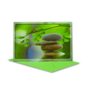 Glückwunschkarte, Steine und Blätter