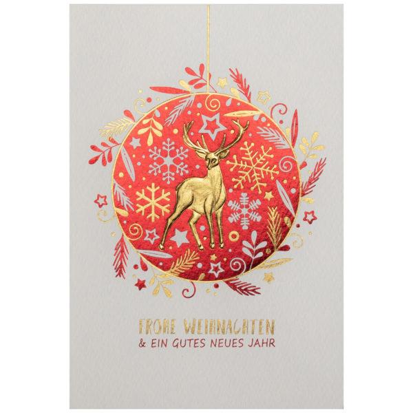 Weihnachtskarte, cremefarbener Karton, Folienprägung rot und gold