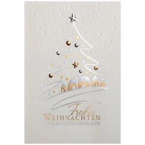Weihnachtskarte, cremefarbener Karton, Folienprägung silber und gold, Blindprägung