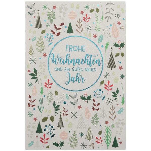 Weihnachtskarte, cremefarbener Karton, Folienprägung türkis, mit Druck
