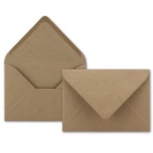 Umschlag Recycling C6, Farbe: sandbraun, Grammatur: 120 g/m², spitze Klappe, Naßklebung