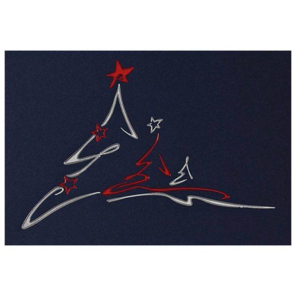 Weihnachtskarte blauer Karton, Silber- und Rotfolienprägung, inkl. Einlegeblatt weiss